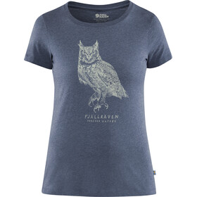 Fjällräven Owl Print T-Shirt Femme, uncle blue